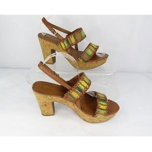 Franco Sarto Fawn Striped Boho Cork Heeled Sandals